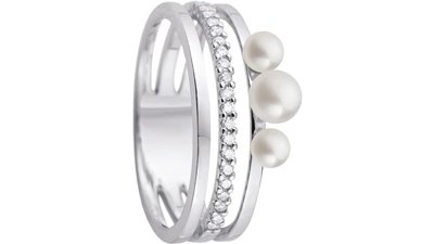 anel ouro branco pérolas diamantes
