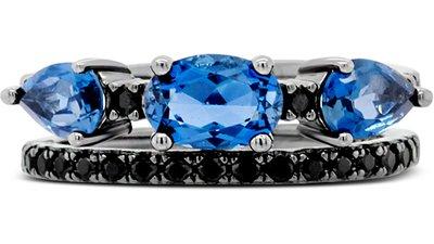 anel prata topázios espinélios