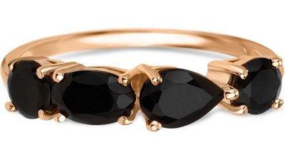 anel ouro rosé e quartzos negros