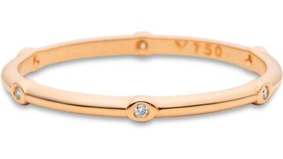anel stacky ouro rosé e diamantes