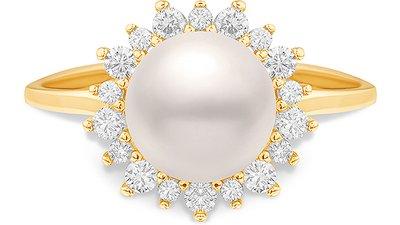 anel ouro amarelo pérola diamantes