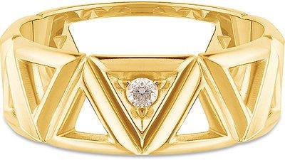 anel icona ouro amarelo diamantes grande