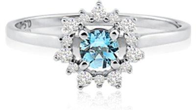 anel ouro branco água marinha diamantes