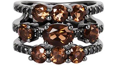 anel prata espinélios quartzos fumês