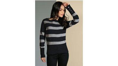 suéter botões decorativos manga bicolor