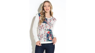 suéter floral off white recortes