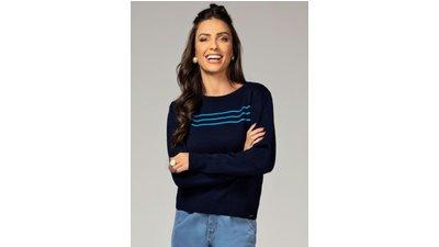 suéter azul franzido ombro