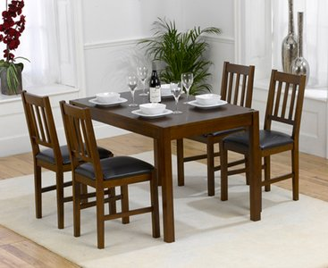 Oxford 120cm Dark Solid Oak Dining Table With Oxford Chairs Brown 4 Chairs 439 00 Save Up To 27 Off