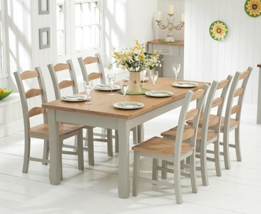 Somerset 180cm Oak And Grey Extending Dining Table With Somerset Chairs Oak And Grey 6 Chairs 1 209 00 Save Up To 31 Off