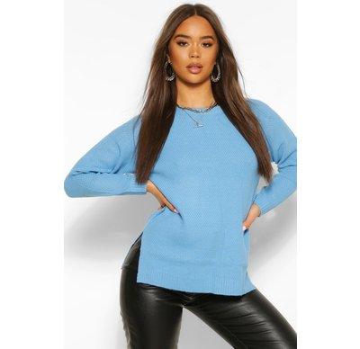 Blu Acceso donna Pullover basic con scollo rotondo, Blu Acceso