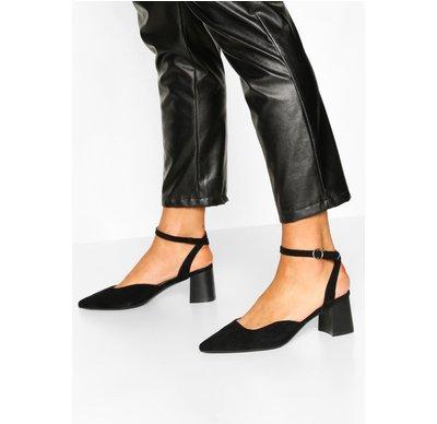 Ballerine Nero donna Ballerine con tacco largo e cinturino alla caviglia, Nero