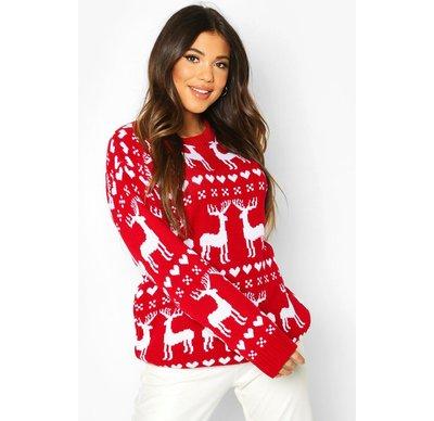 Rosso donna Pullover natalizio con renne in stile Fair Isle, Rosso