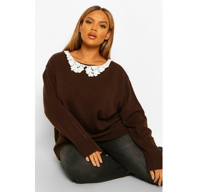 Maglione tendenza Tan donna Pullover con colletto in pizzo Plus, Tan