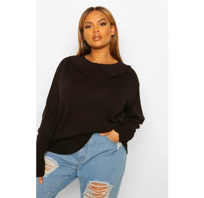 Maglione tendenza Nero donna Plus pullover oversize con colletto, Nero