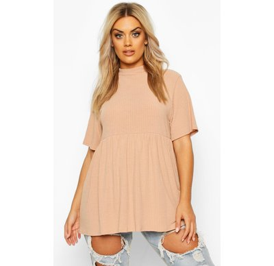 Maglione tendenza Tan donna Plus top in maglia a coste con collo alto, Tan