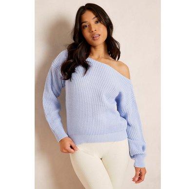 Azzurro donna Pullover Petite corto con collo tagliato stile pescatore, Azzurro