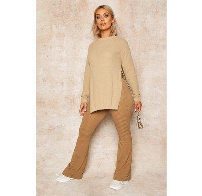 Maglione tendenza Tan donna Pullover a tunica a punto riso con spacchi laterali Plus, Tan