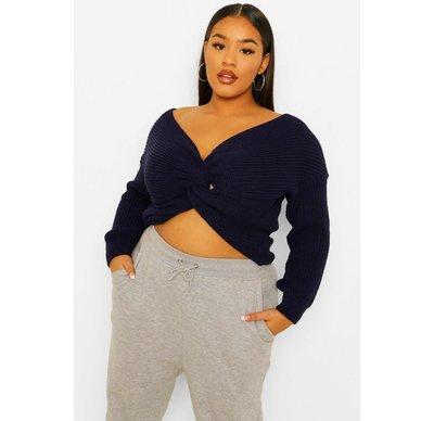 Navy donna Plus maglione intrecciato davanti lavorato a maglia, Navy