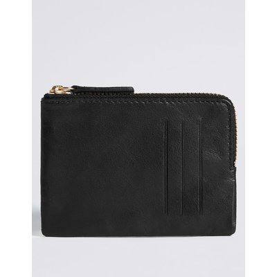 Leather Coin Purse with Cardsafe™  black