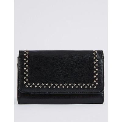 Faux Leather Twin Needle Purse with Cardsafe™  black mix