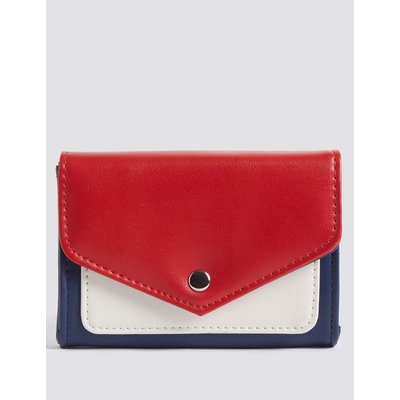 Faux Leather Colour Block Purse with Cardsafe™ navy mix