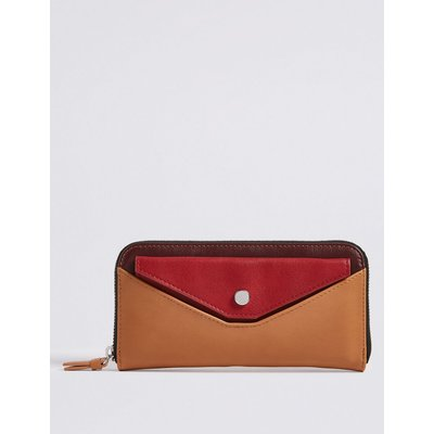 Faux Leather Pull Out Pouch Purse with Cardsafe™  coral mix
