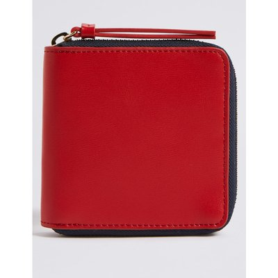 Faux Leather Zip Around Purse with Cardsafe™  red