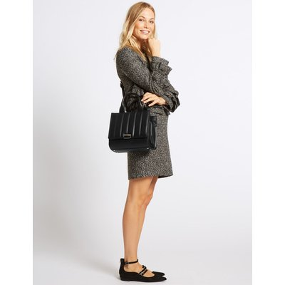 Faux Leather Quilted 3 Part Tote Bag black