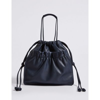 Faux Leather Slouchy Shopper Bag navy