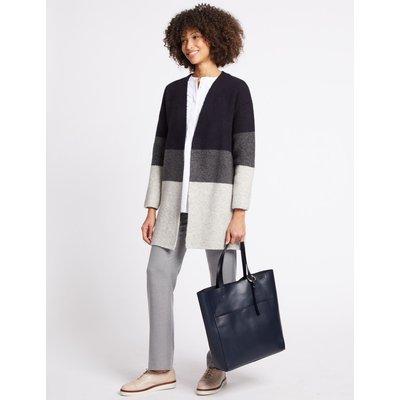 Leather Shopper Bag navy