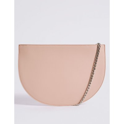 Faux Leather Half Moon Shoulder Bag blush pink