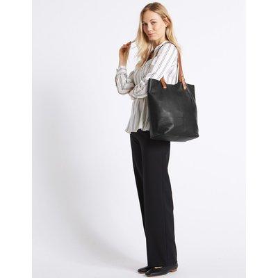Leather Shopper Bag black mix