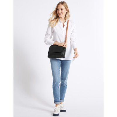 Leather Cross Body Bag black mix