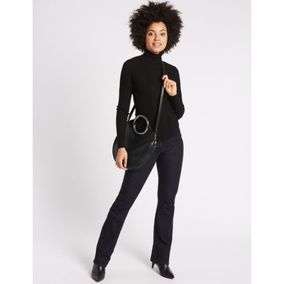 Faux Leather Circle Handle Cross Body Bag black