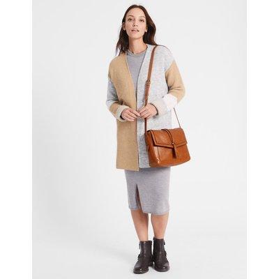 Leather Pin Stud Messenger Bag tan
