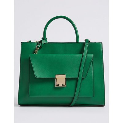 Faux Leather Tote Bag with Removable Clutch green