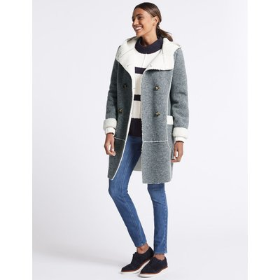 Wool Blend Patch Pocket Coat grey