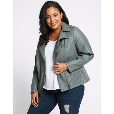 CURVE Faux Leather Biker Jacket sage