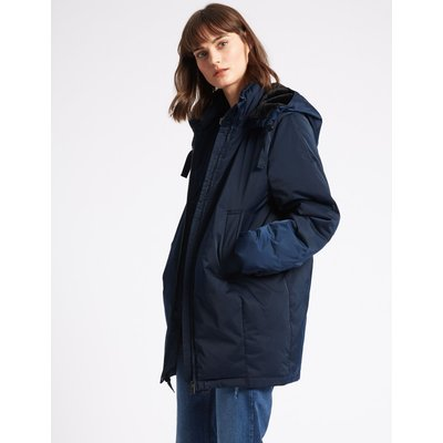 Faux Fur Hooded Padded Jacket navy