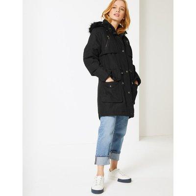 PETITE Faux Fur Padded Parka with Stormwear™ black