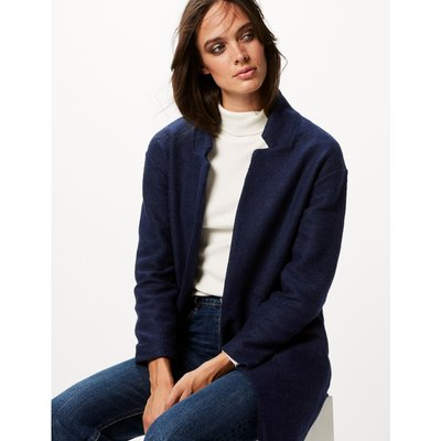 Textured Open Front Coat navy