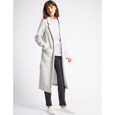 Cotton Blend Open Front Duster Coat light grey