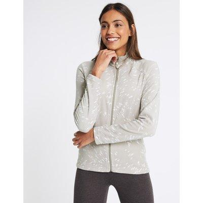 Printed Fleece Jacket silver grey