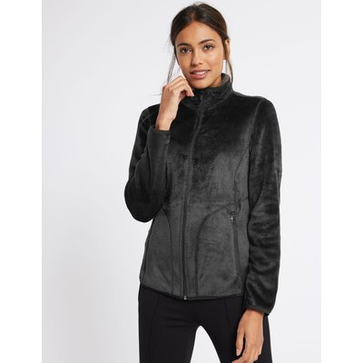 Velvet Stitch Detail Fleece Jacket black