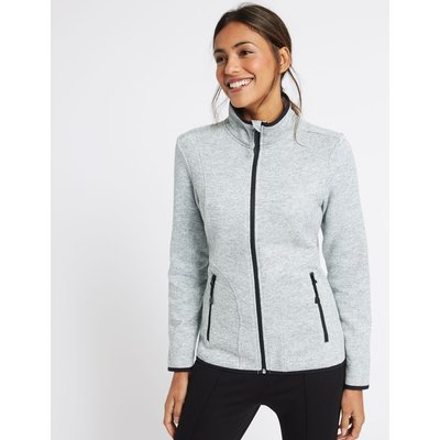 Knitted Contrasting Edge Fleece Jacket grey marl