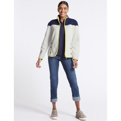 Colour Block Fleece Jacket  ivory mix