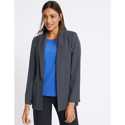 Printed Patch Pocket Blazer navy mix