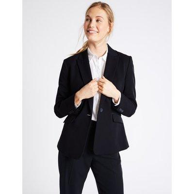 Grosgrain Trim Single Button Jacket navy