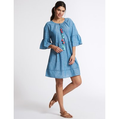 Pure Cotton Tassel Cover Up chambray