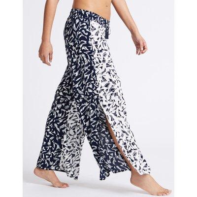 Horizon Print Wide Leg Beach Trousers blue mix